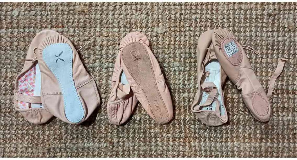 zapatillas de ballet de piel